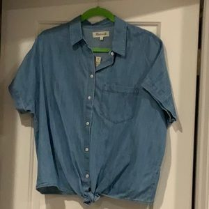 NWT Madewell Denim Tie Front Shirt M